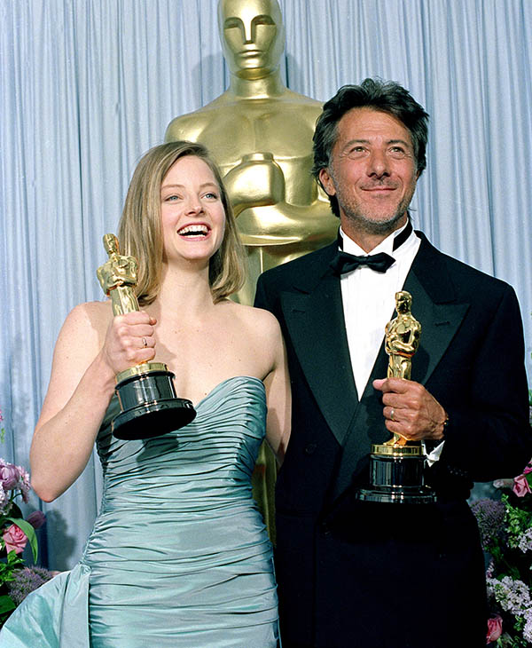 <div class='meta'><div class='origin-logo' data-origin='AP'></div><span class='caption-text' data-credit=''>Oscar winners Jodie Foster, left, and Dustin Hoffman pose with their statuettes backstage at the Academy Awards in Los Angeles, Ca., March 29, 1989.</span></div>