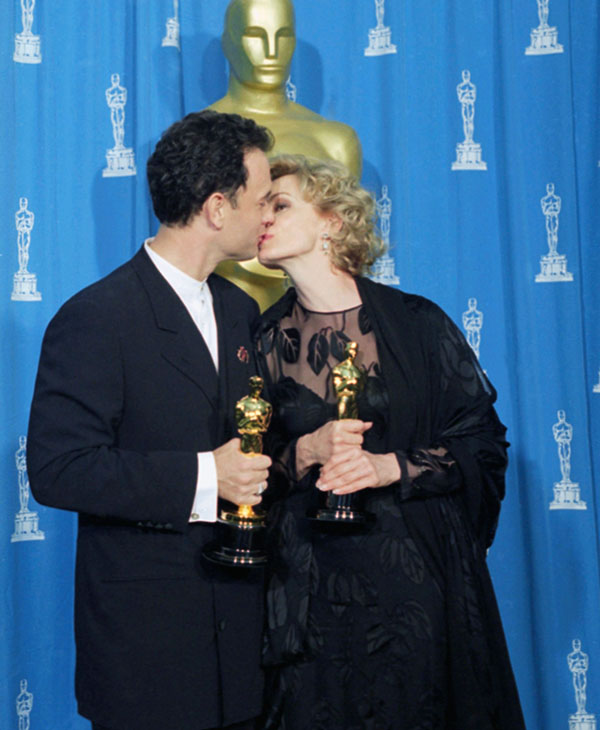 <div class='meta'><div class='origin-logo' data-origin='AP'></div><span class='caption-text' data-credit=''>Tom Hanks, best actor winner for &#34;Forrest Gump,&#34; and Jessica Lange, best actress winner for &#34;Blue Sky,&#34; kiss after they won their Oscars at the 67th Academy Awards in 1995.</span></div>