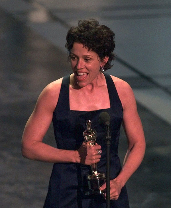 <div class='meta'><div class='origin-logo' data-origin='AP'></div><span class='caption-text' data-credit=''>Frances McDormand accepts the award for Best Actress for &#34;Fargo,&#34;at the 69th Annual Academy Awards at the Shrine Auditorium in Los Angeles, Monday, March 24, 1997.</span></div>