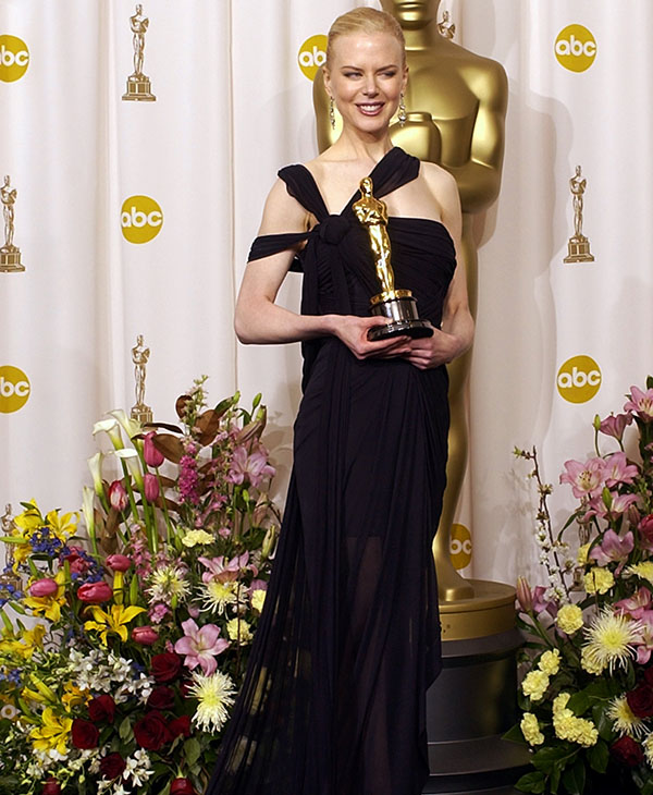 <div class='meta'><div class='origin-logo' data-origin='AP'></div><span class='caption-text' data-credit=''>Australian actress Nicole Kidman poses with the Oscar she won for best actress for her role in &#34;The Hours&#34; at the 75th annual Academy Awards Sunday, March 23, 2003, in Los Angeles.</span></div>