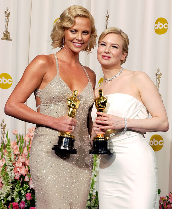 <div class='meta'><div class='origin-logo' data-origin='AP'></div><span class='caption-text' data-credit=''>Best actress Charlize Theron and best supporting actress Renee Zellweger pose with their Oscars at the 76th annual Academy Awards, Sunday, Feb. 29, 2004, in Los Angeles.</span></div>