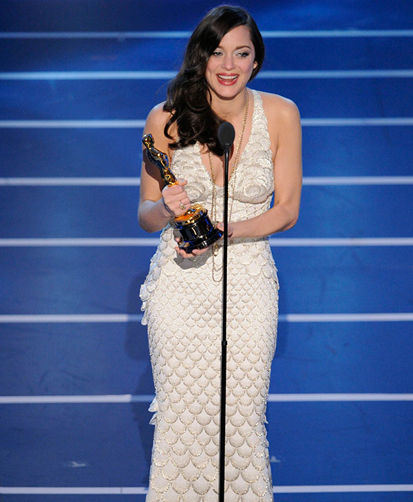 <div class='meta'><div class='origin-logo' data-origin='AP'></div><span class='caption-text' data-credit=''>French actress Marion Cotillard accepts the Oscar for best actress for her work in &#34;La Vie en Rose&#34; the 80th Academy Awards Sunday, Feb. 24, 2008, in Los Angeles.</span></div>