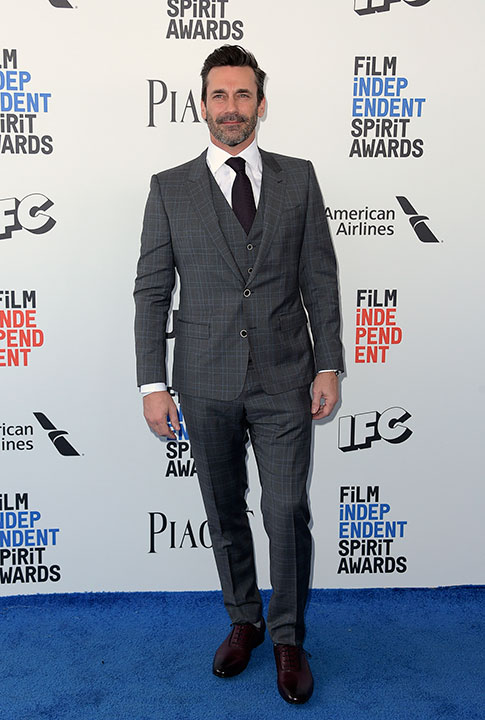 "<div class=""meta image-caption""><div class=""origin-logo origin-image none""><span>none</span></div><span class=""caption-text"">Jon Hamm arrives at the Film Independent Spirit Awards on Saturday, Feb. 25, 2017, in Santa Monica, Calif. (Richard Shotwell/Invision/AP)</span></div>"