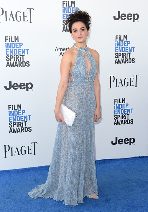 "<div class=""meta image-caption""><div class=""origin-logo origin-image none""><span>none</span></div><span class=""caption-text"">Jenny Slate arrives at the Film Independent Spirit Awards on Saturday, Feb. 25, 2017, in Santa Monica, Calif. (Richard Shotwell/Invision/AP)</span></div>"