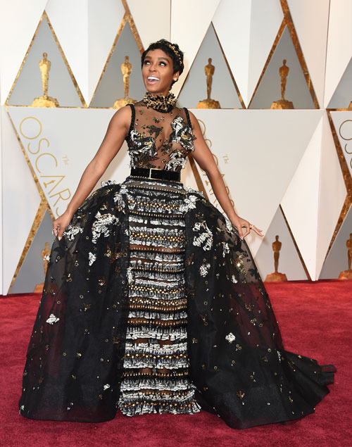 <div class='meta'><div class='origin-logo' data-origin='AP'></div><span class='caption-text' data-credit='Photo by Jordan Strauss/Invision/AP'>Janelle Monae arrives at the Oscars on Sunday, Feb. 26, 2017, at the Dolby Theatre in Los Angeles.</span></div>