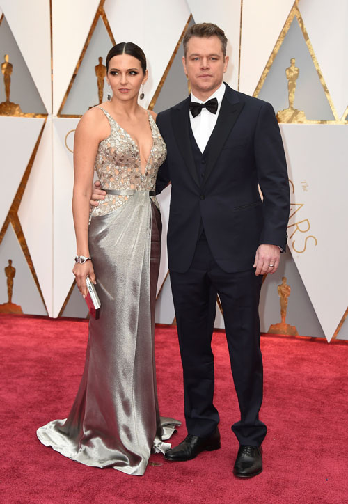 <div class='meta'><div class='origin-logo' data-origin='AP'></div><span class='caption-text' data-credit='Photo by Jordan Strauss/Invision/AP'>Luciana Barroso, left, and Matt Damon arrive at the Oscars on Sunday, Feb. 26, 2017, at the Dolby Theatre in Los Angeles.</span></div>