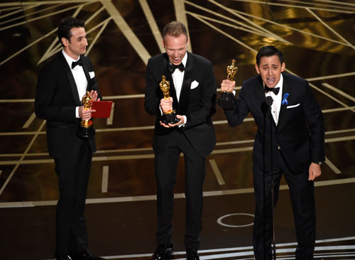 <div class='meta'><div class='origin-logo' data-origin='AP'></div><span class='caption-text' data-credit='Photo by Chris Pizzello/Invision/AP'>Justin Hurwitz, from left, Justin Paul, and Benj Pasek accept the award for best original song for &#34;City of Stars&#34; from &#34;La La Land&#34; at the Oscars on Sunday, Feb. 26, 2017.</span></div>