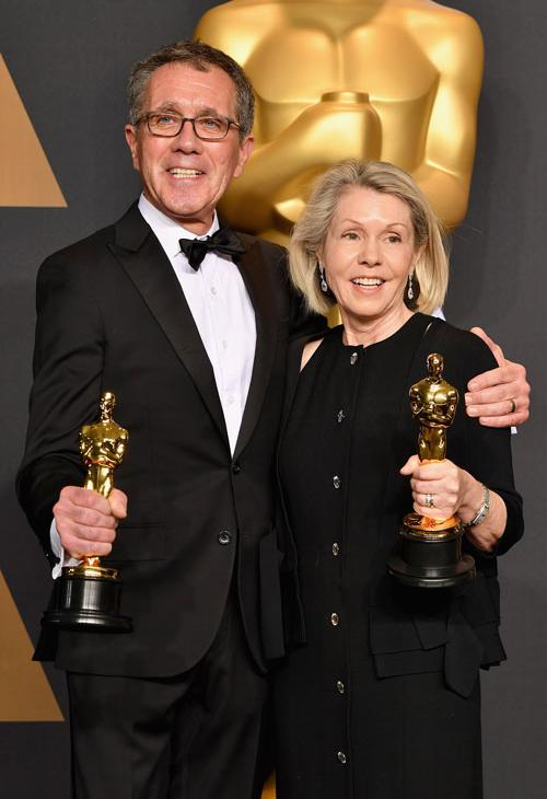 <div class='meta'><div class='origin-logo' data-origin='none'></div><span class='caption-text' data-credit='Photo by Steve Granitz/WireImage'>Production designer David Wasco (L) and set decorator Sandy Reynolds-Wasco, winners of the award for Production Design for 'La La Land.'</span></div>