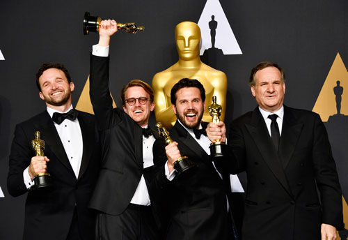 <div class='meta'><div class='origin-logo' data-origin='none'></div><span class='caption-text' data-credit='Photo by Steve Granitz/WireImage'>(L-R) Visual effects artists Dan Lemmon, Andrew R. Jones, Adam Valdez and Robert Legato, winners of Best Visual Effects for 'The Jungle Book.'</span></div>