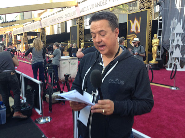 <div class='meta'><div class='origin-logo' data-origin='none'></div><span class='caption-text' data-credit=''>''On The Red Carpet'' host George Pennacchio prepares for Sunday night.</span></div>