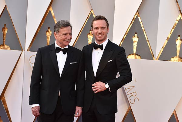<div class='meta'><div class='origin-logo' data-origin='AP'></div><span class='caption-text' data-credit='Photo by Jordan Strauss/Invision/AP'>Michael Fassbender, right, with his father, Josef Fassbender, arrive at the Oscars on Sunday, Feb. 28, 2016, at the Dolby Theatre in Los Angeles.</span></div>