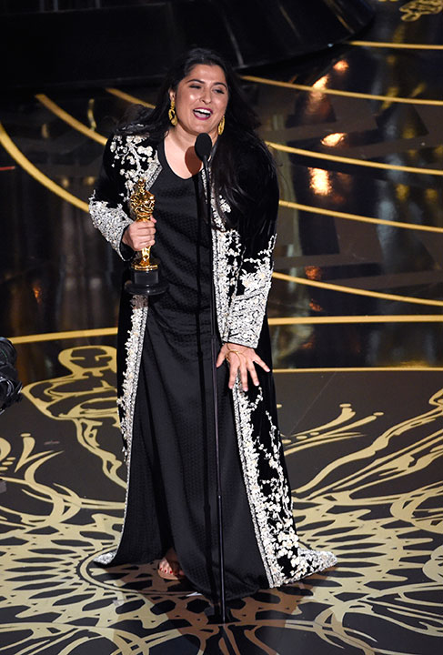 <div class='meta'><div class='origin-logo' data-origin='AP'></div><span class='caption-text' data-credit='Chris Pizzello/Invision/AP'>Sharmeen Obaid-Chinoy accepts the award for best documentary short for 'A Girl in the River: The Price of Forgiveness' at the Oscars on Sunday, Feb. 28, 2016, at the Dolby Theatre.</span></div>