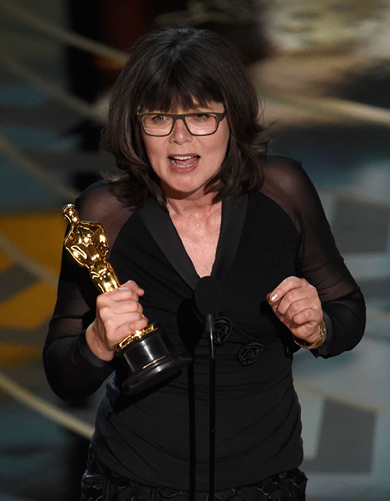 <div class='meta'><div class='origin-logo' data-origin='AP'></div><span class='caption-text' data-credit='Chris Pizzello/Invision/AP'>Margaret Sixel accepts the award for best film editing for 'Mad Max: Fury Road' at the Oscars on Sunday, Feb. 28, 2016, at the Dolby Theatre in Los Angeles.</span></div>