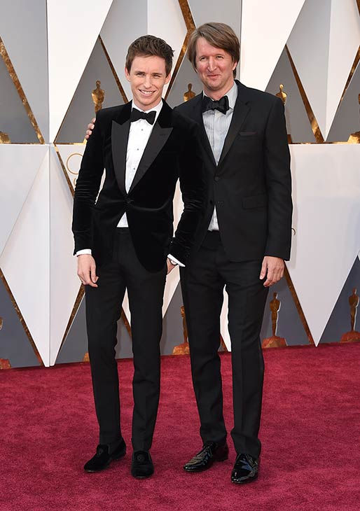 <div class='meta'><div class='origin-logo' data-origin='AP'></div><span class='caption-text' data-credit='The Associated Press'>Eddie Redmayne, left, and Tom Hooper arrive at the Oscars on Sunday, Feb. 28, 2016, at the Dolby Theatre in Los Angeles.</span></div>
