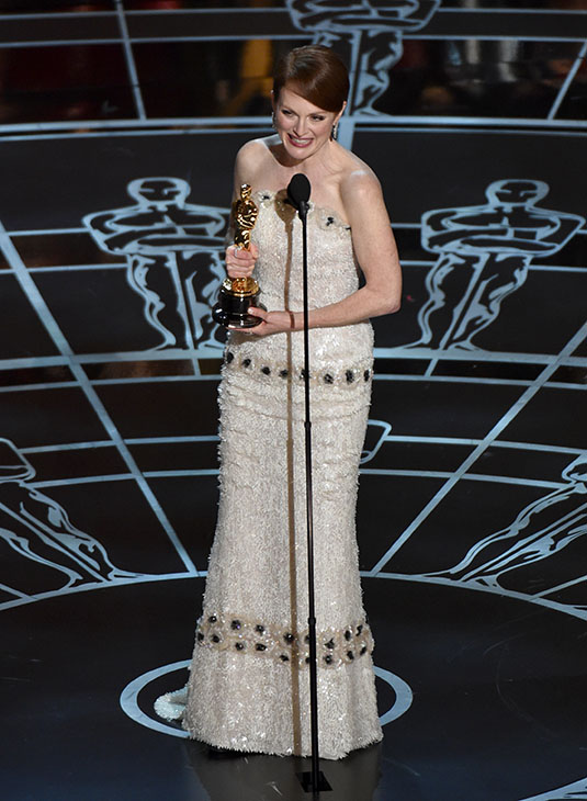 <div class='meta'><div class='origin-logo' data-origin='AP'></div><span class='caption-text' data-credit=''>Julianne Moore accepts the award for best actress in a leading role for &#34;Still Alice&#34; at the Oscars on Sunday, Feb. 22, 2015, at the Dolby Theatre in Los Angeles.</span></div>