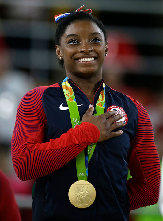 "<div class=""meta image-caption""><div class=""origin-logo origin-image none""><span>none</span></div><span class=""caption-text"">Simone Biles, the 19-year-old gymnast who took home four gold medals at the Rio Olympics, is competing on this season of ''Dancing with the Stars.'' (Rebecca Blackwell/AP Photo)</span></div>"