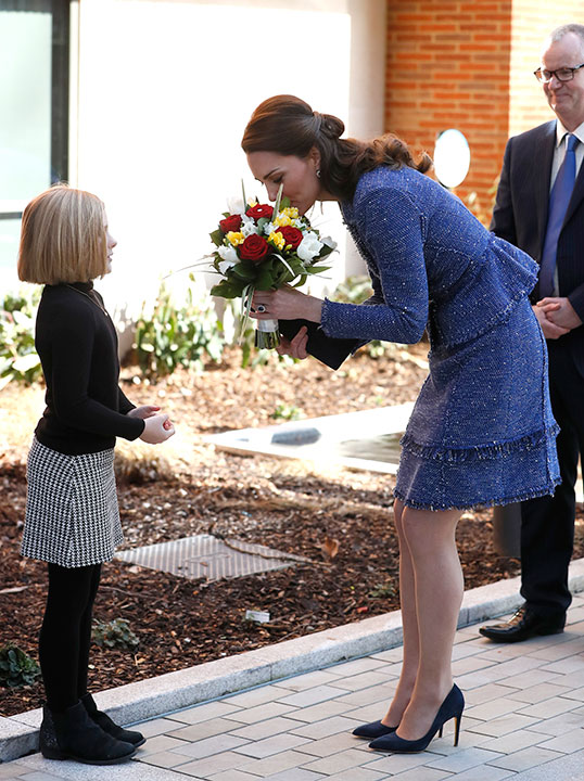 "<div class=""meta image-caption""><div class=""origin-logo origin-image none""><span>none</span></div><span class=""caption-text"">Britain's Kate, the Duchess of Cambridge receives a bouquet of flowers as she arrives at Ronald McDonald House Evelina, in London, Tuesday, Feb. 28, 2017. (Kirsty Wigglesworth/AP Photo)</span></div>"