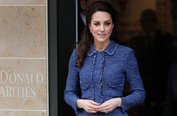 <div class='meta'><div class='origin-logo' data-origin='none'></div><span class='caption-text' data-credit='Kirsty Wigglesworth/AP Photo'>Duchess Kate visited the Evelina London Children's Hospital on Feb. 28. According to ABC News she wore a blue, fringed Rebecca Taylor peplum suit.</span></div>