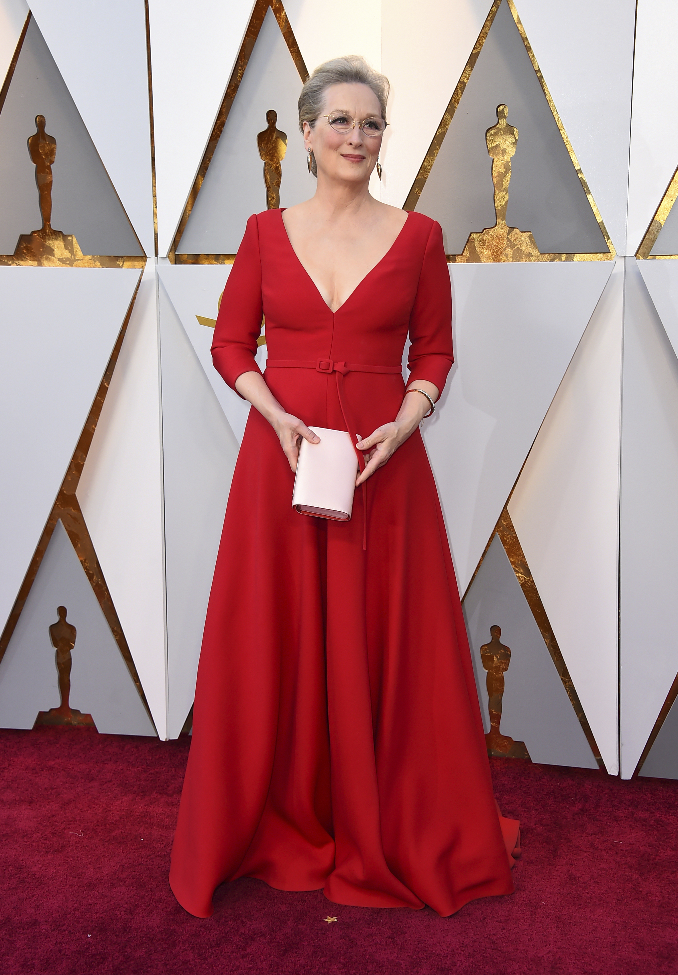<div class='meta'><div class='origin-logo' data-origin='none'></div><span class='caption-text' data-credit='Jordan Strauss/Invision/AP'>Meryl Streep, nominated for Best Actress for ''The Post,'' arrives at the Oscars on Sunday, March 4, 2018, at the Dolby Theatre in Los Angeles.</span></div>