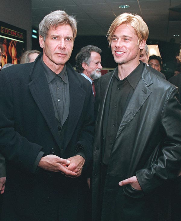 "<div class=""meta image-caption""><div class=""origin-logo origin-image ap""><span>AP</span></div><span class=""caption-text"">Actors Harrison Ford, left, and Brad Pitt arrive for the world premiere of their movie, ""The Devil's Own,"" Thursday, March 13, 1997, in New York. </span></div>"