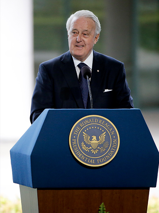 <div class='meta'><div class='origin-logo' data-origin='AP'></div><span class='caption-text' data-credit='Jae C. Hong/AP'>Former Canadian Prime Minister Brian Mulroney speaks during the funeral service for Nancy Reagan on Friday, March 11, 2016 in Simi Valley, Calif.</span></div>