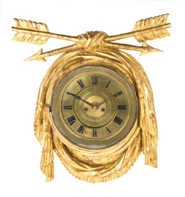"<div class=""meta image-caption""><div class=""origin-logo origin-image none""><span>none</span></div><span class=""caption-text"">An Austrian Giltwood Cartel Clock, CIRCA 1800, $2,000/4,000  (Photo/Leslie Hindman Auctioneers)</span></div>"