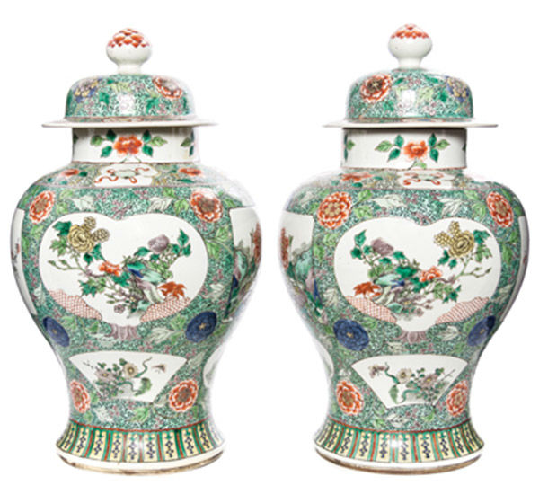 "<div class=""meta image-caption""><div class=""origin-logo origin-image none""><span>none</span></div><span class=""caption-text"">A Pair of Famille Verte Porcelain Vases and Covers, $3,000/5,000 (Photo/Leslie Hindman Auctioneers)</span></div>"