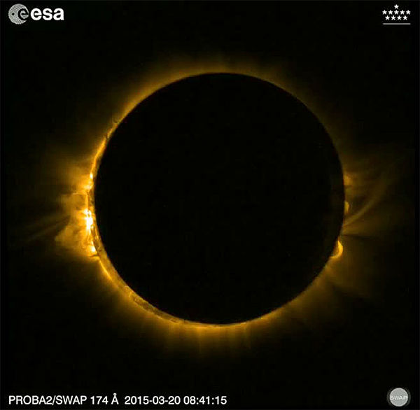 <div class='meta'><div class='origin-logo' data-origin='none'></div><span class='caption-text' data-credit='Picture-Alliance/DPA/AP Photo'>A screenshot of a video made available by the European Space Agency shows the total solar eclipse from the satellite Proba-2 on March 20, 2015.</span></div>