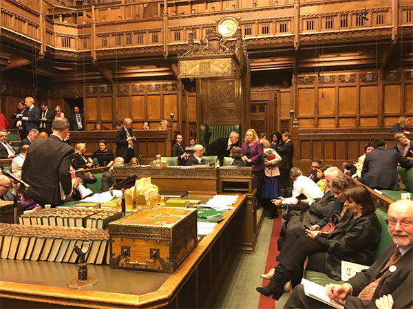 "<div class=""meta image-caption""><div class=""origin-logo origin-image none""><span>none</span></div><span class=""caption-text"">Parliament member Barry Sheerman shared this photo showing Parliament members waiting while in lockdown. (barry Sheerman/Twitter)</span></div>"