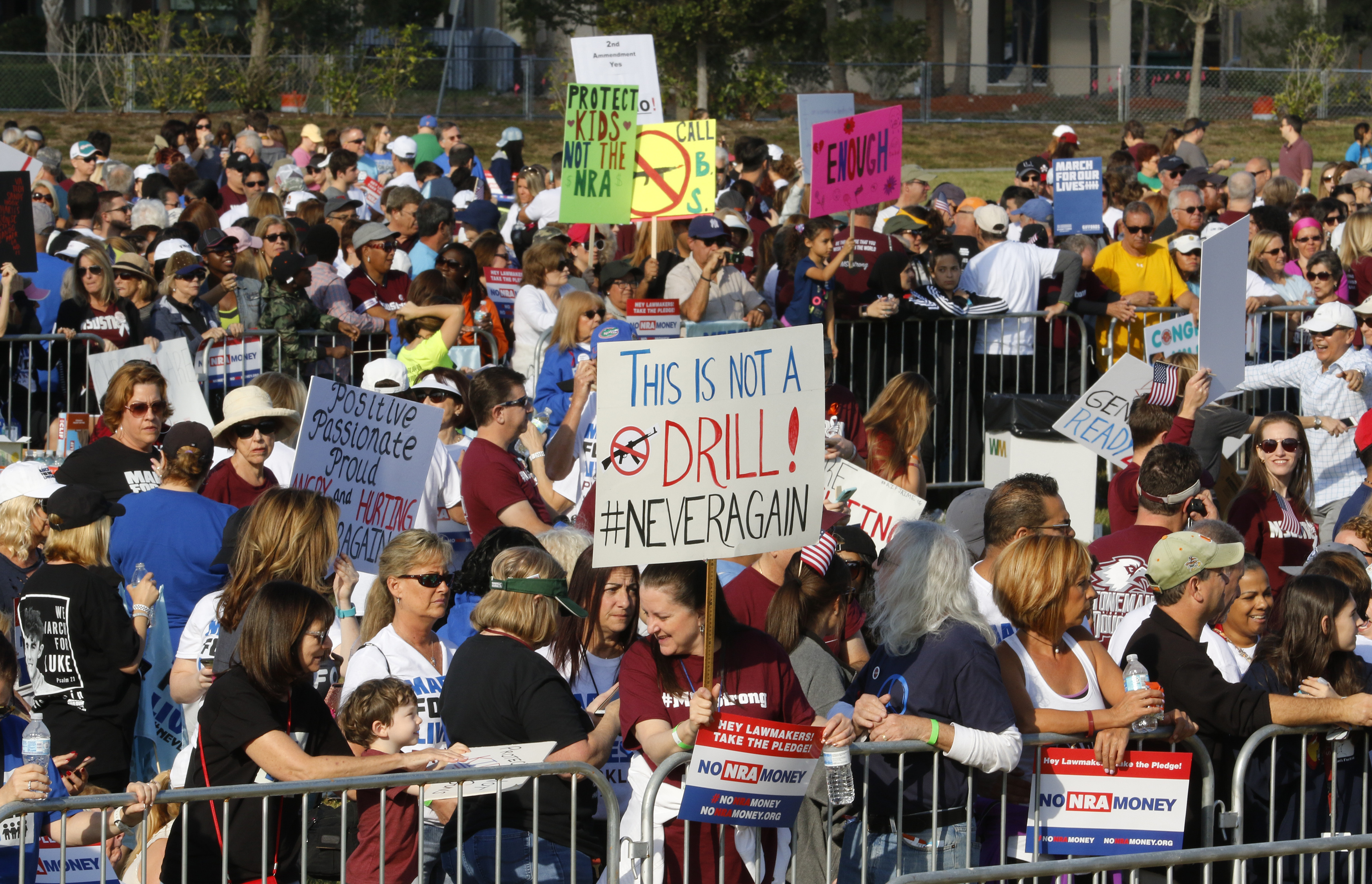 <div class='meta'><div class='origin-logo' data-origin='AP'></div><span class='caption-text' data-credit='AP Photo/Joe Skipper'>Participants gather during the March For Our Lives-Parkland event Saturday, March 24, 2018, in Parkland, Fla.</span></div>