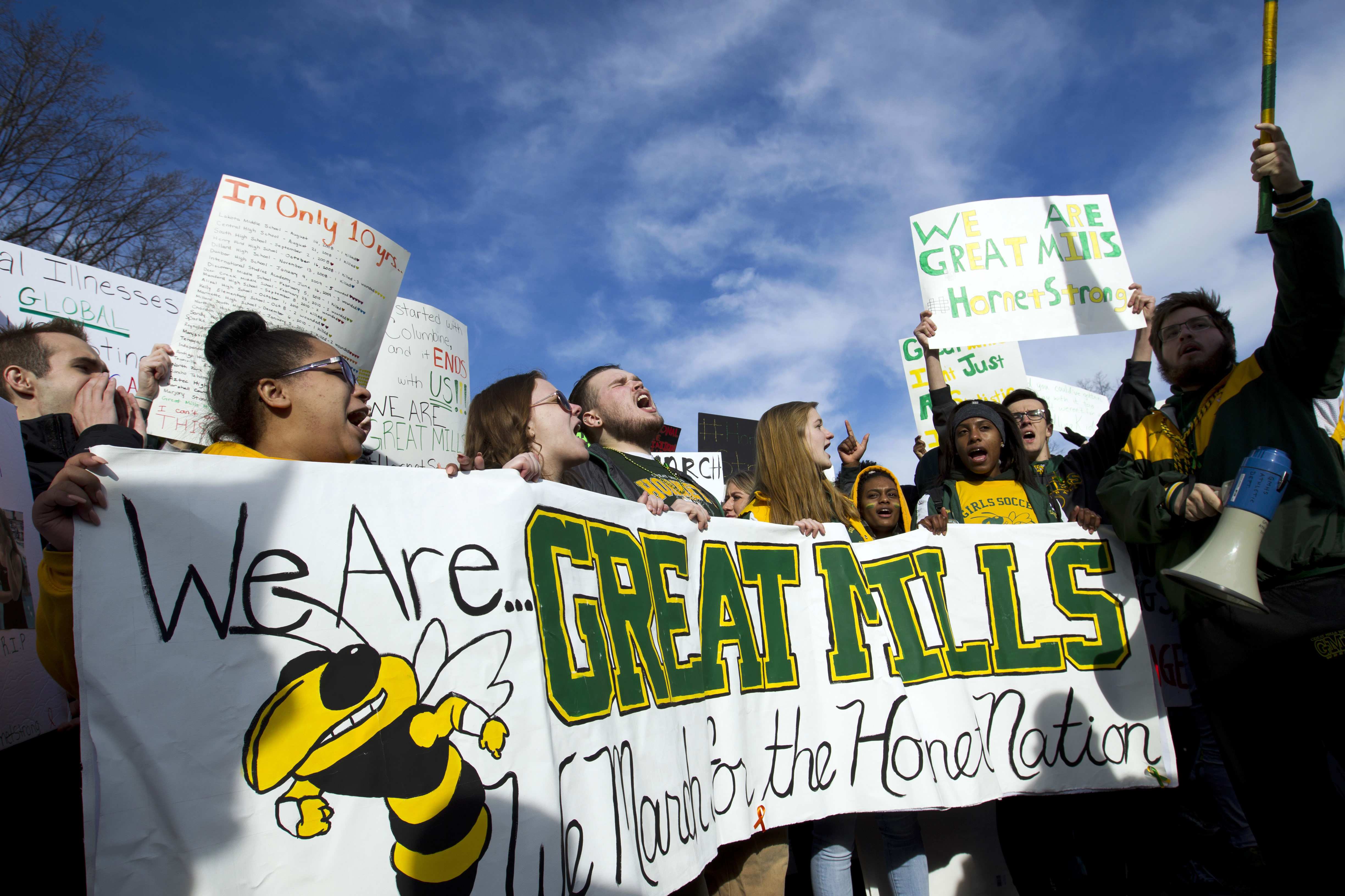 <div class='meta'><div class='origin-logo' data-origin='AP'></div><span class='caption-text' data-credit='AP Photo/Jose Luis Magana'>Students from Great Mills High School in southern Maryland, protest during the &#34;March for Our Lives&#34; rally in support of gun control in Washington.</span></div>