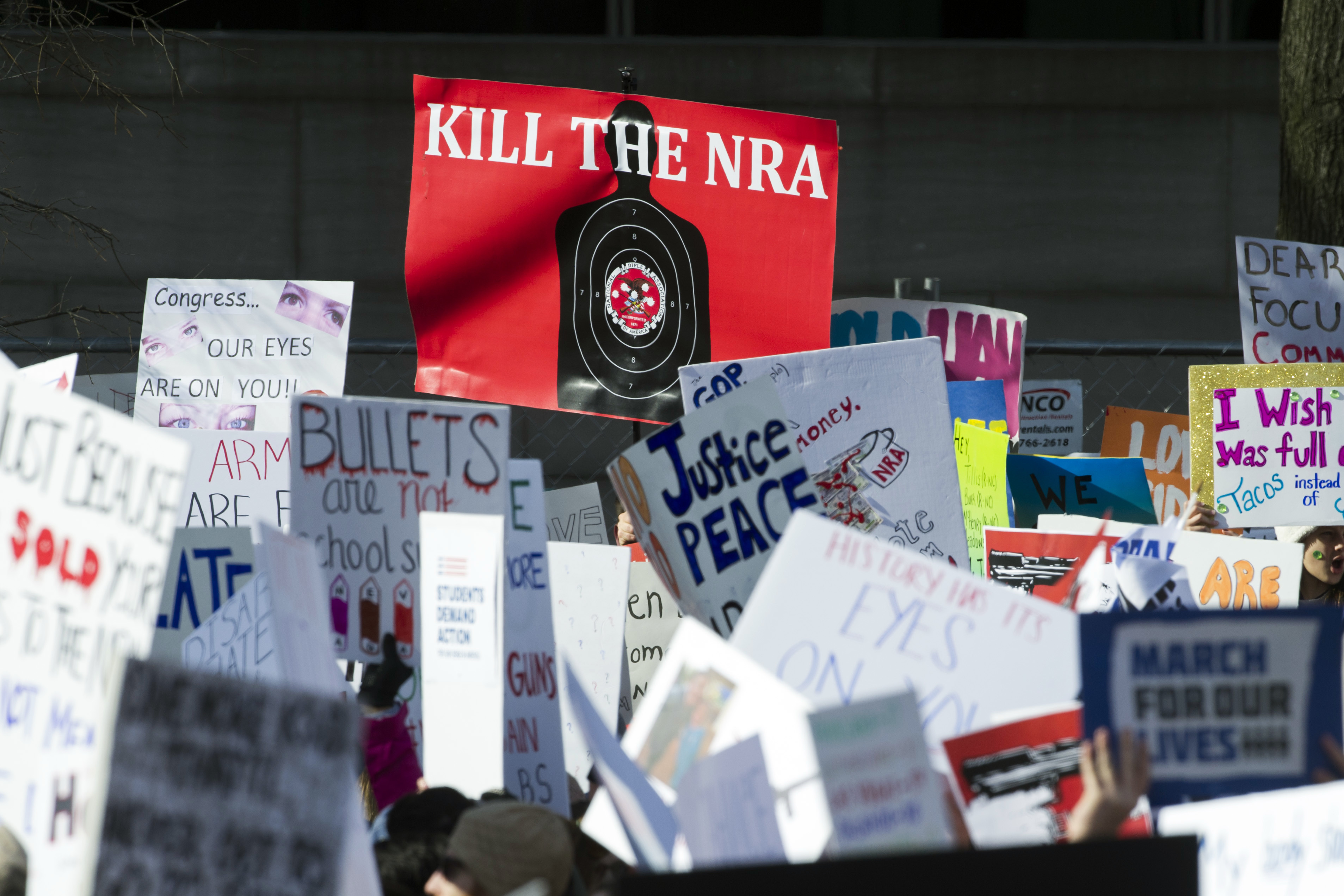 <div class='meta'><div class='origin-logo' data-origin='AP'></div><span class='caption-text' data-credit='AP Photo/Cliff Owen'>Protesters hold signs aloft as they attend the &#34;March for Our Lives&#34; rally in support of gun control in Washington.</span></div>