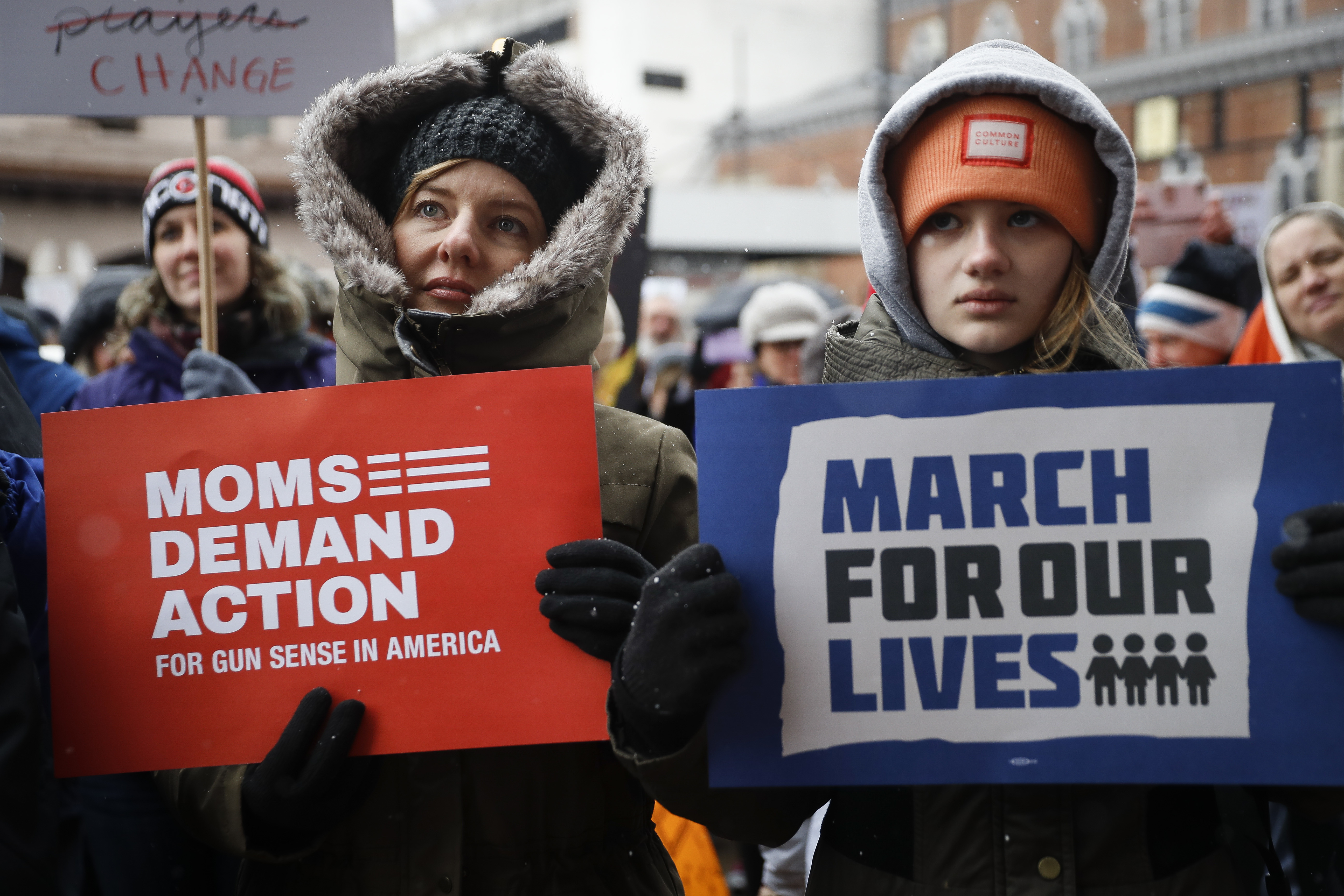 <div class='meta'><div class='origin-logo' data-origin='AP'></div><span class='caption-text' data-credit='AP Photo/John Minchillo'>Demonstrators gather during the March for Our Lives protest for gun legislation and school safety outside city hall, Saturday, March 24, 2018, in Cincinnati.</span></div>