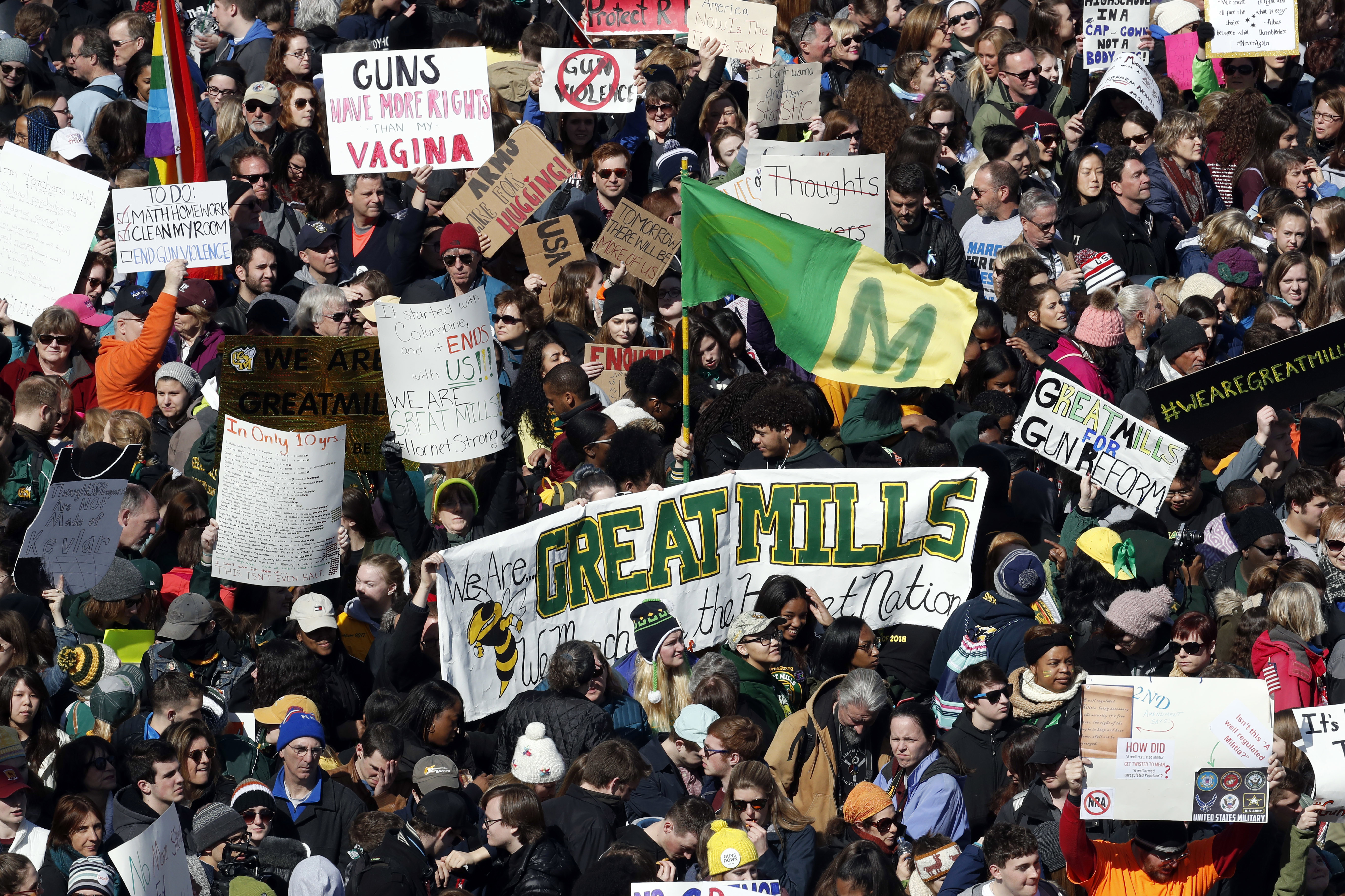 <div class='meta'><div class='origin-logo' data-origin='AP'></div><span class='caption-text' data-credit='AP Photo/Alex Brandon'>A sign from Maryland's Great Mills High School is seen in the crowd during the &#34;March for Our Lives&#34; rally in support of gun control, Saturday, March 24, 2018, in Washington.</span></div>