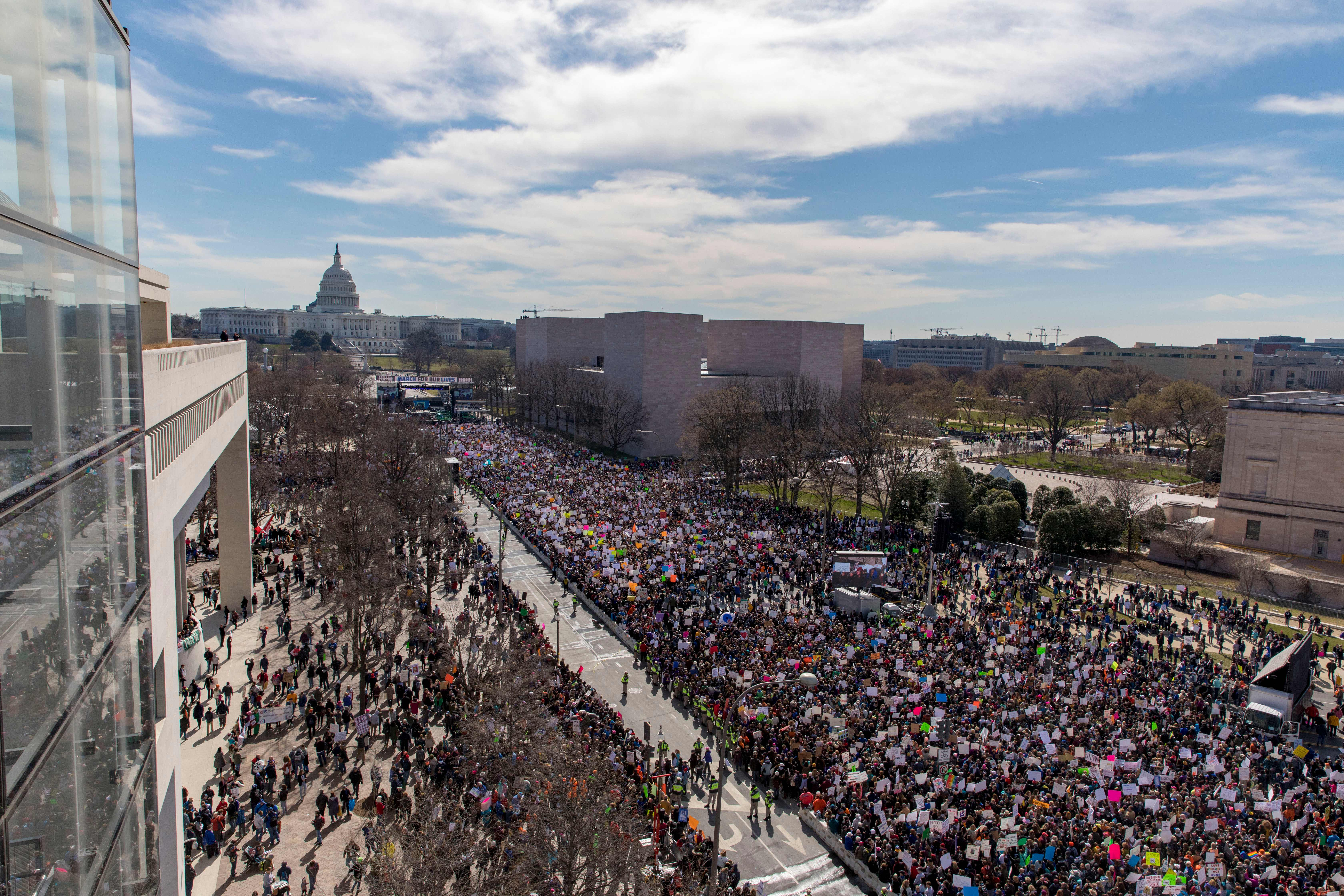 <div class='meta'><div class='origin-logo' data-origin='none'></div><span class='caption-text' data-credit='Alex Edelman/AFP/Getty Images'>The crowd at the March for Our Lives Rally as seen from the roof of the Newseum in Washington, DC on March 24, 2018.</span></div>