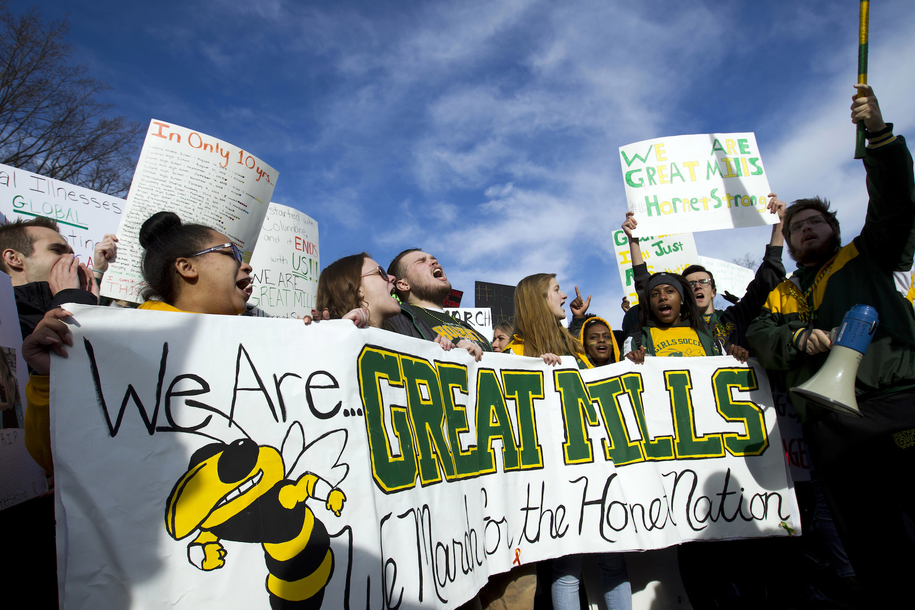 <div class='meta'><div class='origin-logo' data-origin='AP'></div><span class='caption-text' data-credit='AP Photo/Jose Luis Magana'>Students from Great Mills High School of Maryland, protest during the &#34;€œMarch for Our Lives&#34; rally in support of gun control in Washington.</span></div>