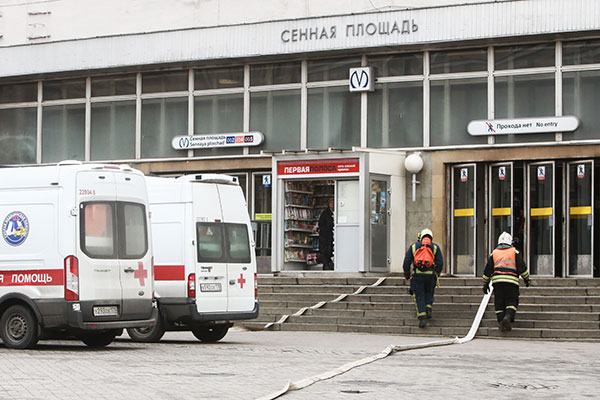 "<div class=""meta image-caption""><div class=""origin-logo origin-image none""><span>none</span></div><span class=""caption-text"">Firefighters and ambulances at the entrance to Sennaya Ploshchad station of the St Petersburg metro in the aftermath of an explosion which occurred in a train. (Sergei Konkov\TASS via Getty Images)</span></div>"