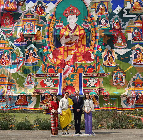 <div class='meta'><div class='origin-logo' data-origin='AP'></div><span class='caption-text' data-credit='Royal Kingdom of Bhutan via AP'>Bhutan's queen, Jetsun Pema, Bhutan's king Jigme Khesar Namgyel Wangchuk, Prince William and Kate pose for a photograph in Thimphu, Bhutan, April 14, 2016.</span></div>
