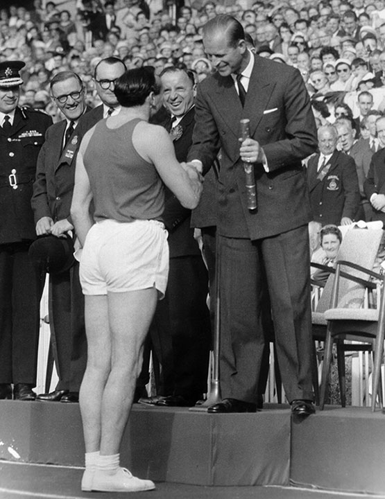 "<div class=""meta image-caption""><div class=""origin-logo origin-image none""><span>none</span></div><span class=""caption-text"">Prince Philip shakes hands with sprinter Ken Jones during the Empire Games, now known as the Commonwealth Games, in 1958. (AP Photo/BIPPA)</span></div>"