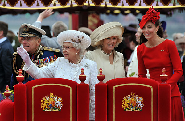 "<div class=""meta image-caption""><div class=""origin-logo origin-image none""><span>none</span></div><span class=""caption-text"">Prince Philip, Queen Elizabeth II, Camilla Duchess of Cornwall, and Kate Duchess of Cambridge watch the proceedings during the queen's Diamond Jubilee Pageant in 2012. (AP Photo/John Stillwell, Pool)</span></div>"