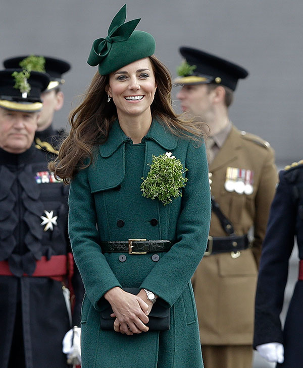 <div class='meta'><div class='origin-logo' data-origin='AP'></div><span class='caption-text' data-credit='AP'>Kate, The Duchess of Cambridge during a visit to the 1st Battalion Irish Guards at the St. Patrick's Day Parade at Mons Barracks, Aldershot, in England, Monday, March 17, 2014.</span></div>