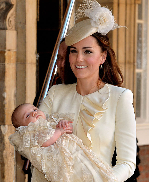 <div class='meta'><div class='origin-logo' data-origin='AP'></div><span class='caption-text' data-credit='AP'>Kate Duchess of Cambridge carries her son Prince George after his christening at the Chapel Royal in St James's Palace in London, Wednesday Oct. 23, 2013.</span></div>
