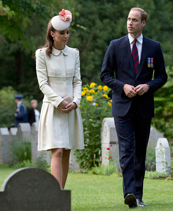 "<div class=""meta image-caption""><div class=""origin-logo origin-image ap""><span>AP</span></div><span class=""caption-text"">The Duke and Duchess of Cambridge arrive for a ceremony to mark the 100th anniversary of the outbreak of World War I in St. Symphorien, Belgium on Monday, Aug. 4, 2014.  (AP)</span></div>"