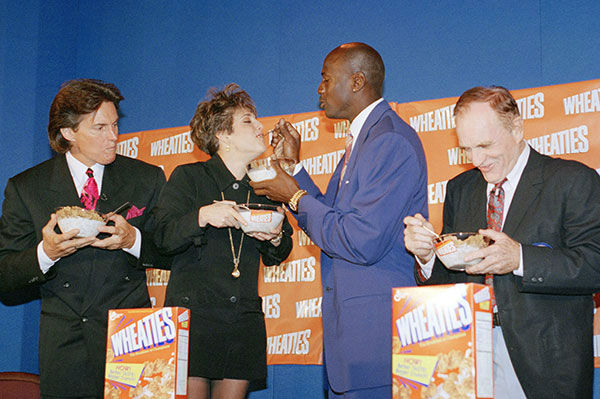 <div class='meta'><div class='origin-logo' data-origin='none'></div><span class='caption-text' data-credit='AP Photo/Charles Bennett'>Jenner makes an appearance with fellow athletes Mary Lou Retton, Michael Jordan and Bob Richards (left to right) in a press conference for Wheaties cereal in 1994.</span></div>