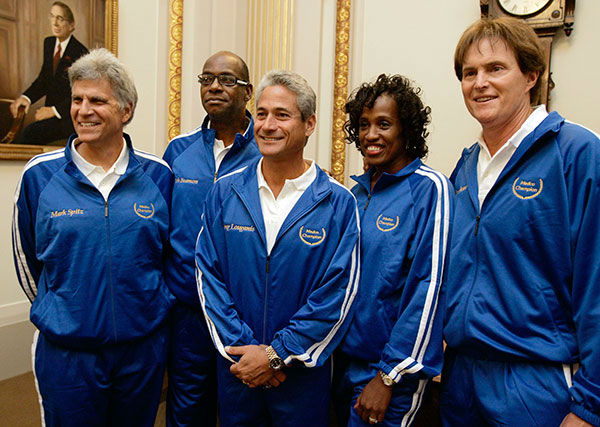 <div class='meta'><div class='origin-logo' data-origin='none'></div><span class='caption-text' data-credit='AP Photo/RICHARD DREW'>Jenner appears with fellow Olypmic gold medalists, Mark Spitz, Bob Beamon, Greg Louganis and Jackie Joyner-Kersee in 2007.</span></div>