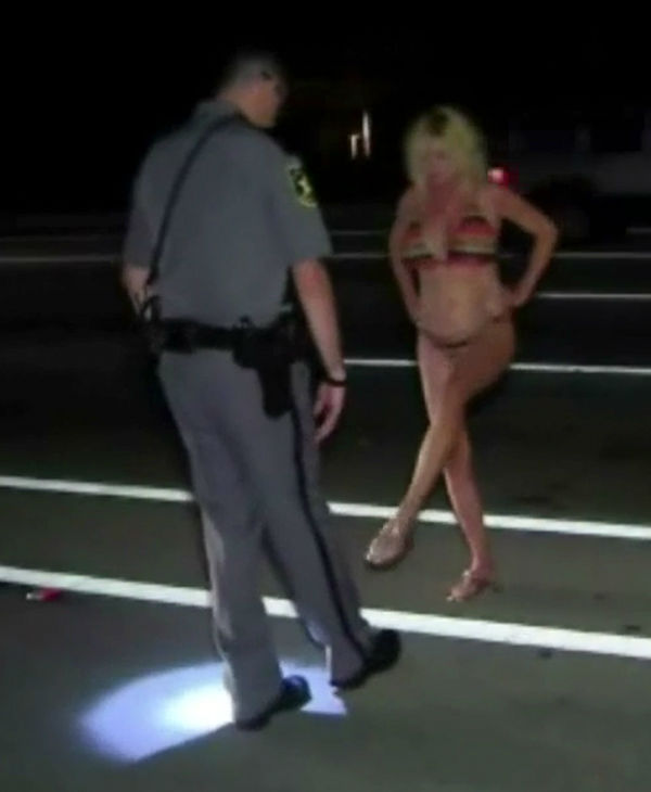 Arrested fireman in bikini