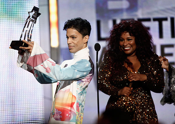 <div class='meta'><div class='origin-logo' data-origin='none'></div><span class='caption-text' data-credit='Matt Sayles/AP Photo'>Prince accepts the Lifetime Achievement Award from Chaka Khan at the BET Awards in June 2010 in Los Angeles.</span></div>