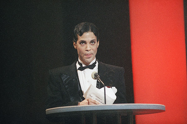 "<div class=""meta image-caption""><div class=""origin-logo origin-image none""><span>none</span></div><span class=""caption-text"">Prince speaks at the American Music Awards in Jan. 1986 in Los Angeles. (Nick Ut/AP Photo)</span></div>"