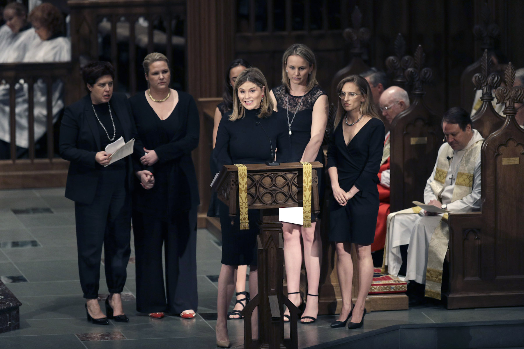 <div class='meta'><div class='origin-logo' data-origin='none'></div><span class='caption-text' data-credit='David J. Phillip-Pool/Getty Images'>Jenna Bush Hager speaks during a funeral service for her grandmother, former first lady Barbara Bush at St. Martin's Episcopal Church April 21, 2018 in Houston, Texas.</span></div>