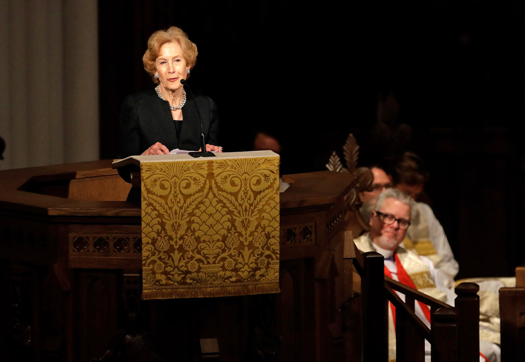 <div class='meta'><div class='origin-logo' data-origin='none'></div><span class='caption-text' data-credit='Getty David J. Phillip-Pool/Getty Images'>Susan Baker speaks during a funeral service for former first lady Barbara Bush at St. Martin's Episcopal Church, April 21, 2018 in Houston, Texas.</span></div>
